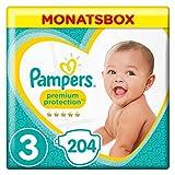 Pampers Premium Protection Windeln, Größe 3, 6-10 kg, Monatsbox, (1 x 204 Stück)