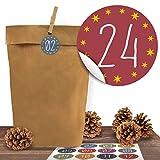 24 Adventskalender Kraftpapiertüten mit 24 Zahlen-Aufklebern Zum Advent zum Verschließen für den Adventskalender zum Basteln und Befüllen