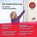 ISI SAFE NEU - die Nr. 1 Kindersicherung - TRANSPARENT für Fenster, Balkon- und Terrassentüren, werkzeuglose Montage, keine Beschädigung am Fenster durch Bohren oder Kleben …