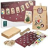 LIVAIA Adventskalender zum Befüllen: Schöner Adventskalender zum Selbstbefüllen mit 24 Tüten, Stickern und Zahlen Aufkleber - DIY Adventskalender zum Basteln - Adventskalender Selber Befüllen 2020