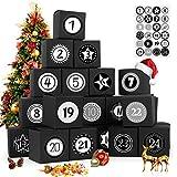 Adventskalender zum Befüllen, 24 Adventskalender Geschenkbox, mit Zahlenaufklebern, für Weihnachtlichen 2020 zum Basteln und Befüllen, Weihnachts-Geschenkschachtel zum DIY, Schwarz