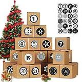 Adventskalender zum Befüllen, 24 Adventskalender Boxen, Adventskalender Selber Befüllen, Weihnachtskalender DIY Bastelset inkl. Weihnachten Adventszahlen Aufkleber, Schachteln zum Befüllen