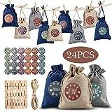 Orlegol 24 Adventskalender zum Befüllen -Stoffbeutel, Weihnachten Geschenksäckchen mit Zahlen Aufkleber + Mini-Holzklammern und 10m Jute Hanfseile, Weihnachtskalender tüten Geschenkbeutel 9.5 x 13.5cm